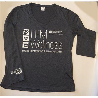 "Ladies ""Wellness"" V-Neck Long Sleeve T-Shirt - MEDIUM"