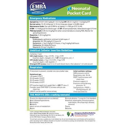 EMRA Neonatal Pediatric Card