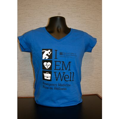Ladies Short Well V-Neck M Royal Blue