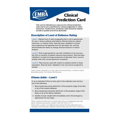 EMRA Clinical Prediction Card